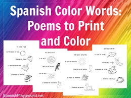 Different versions of the flashcards are available, simply download and print off the ones that are most suitable for you and your child. Spanish Color Words Rhymes To Print And Color Spanish Playground