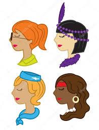 様々 な髪型かわいい女性ヘッド アイコン ストックベクター Mhatzapa