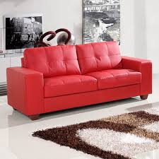 strada vibrant red leather sofa collection with tufted seats and cushions