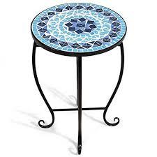 Giantex <b>Mosaic</b> Round Side <b>Accent Table</b> Patio <b>Plant</b> Stand Porch ...