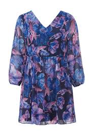 Alexia Admor Blue Floral Print Dress