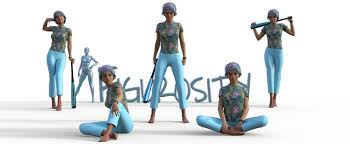 figure drawing poses of small white woman with turquoise and pink hair and matching baseball bat fisity