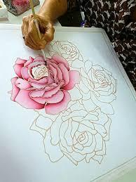 Beautiful Flower Designs For Glass Painting Pin By Sakesun On Batik Silk Painting Batik Art Glass