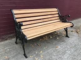 cast iron oak garden bench