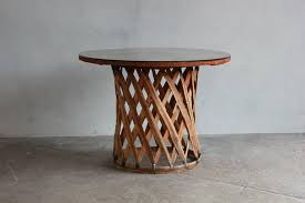 mexican leather wrapped round table with four equipale chairs in distressed condition for in los