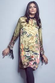 Pakistani Silk Kurtis Designs Printed Silk Kurti Alkaram Studio