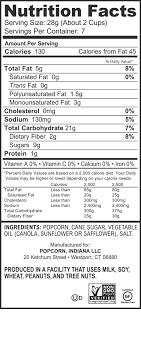 kettlecorn nutritional information