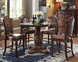 vendome 5 piece 48 inch round glass top counter height pedestal table dining set in cherry