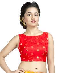 Best Designer Blouse Online Red Dupion Silk Zari Work Stitched Blouse Buy Sleeveless