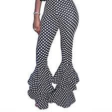 Flare Pants Pattern Extraordinary Uown Women High Waist Cascading Ruffle Flare Pants Polka Dot Casual