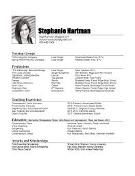 College Music Student Resume Awesome Singer Resume