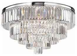 5 tier polished chrome crystal chandelier
