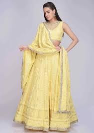 Kalki Lehenga Designs Lemon Yellow Lehenga Set In Georgette With Lucknowi Thread Work Online Kalki Fashion