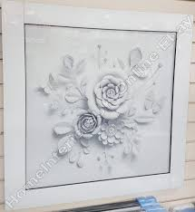 gorgeous white flowers with crystals liquid art white glass frame picture