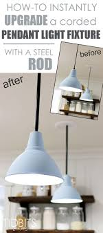 how to instantly upgrade a corded pendant light fixture with a steel rod