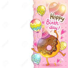 happy birthday card background cute donut vector holiday happy birthday card background cute donut vector holiday party template stock vector 27662597