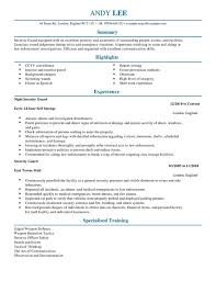Resume Template Office Best Security Guard CV Template CV Samples Examples