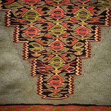turkish kilim senneh rug blue and yellow