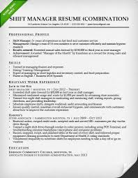 Combination Resume Format Fast Food Shift Manager Competent Vision