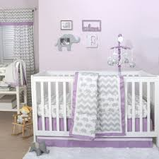 the peanut shell 3 piece baby crib bedding set grey elephant and zig zag patchwork with purple trim 100 cotton quilt crib skirt and sheet