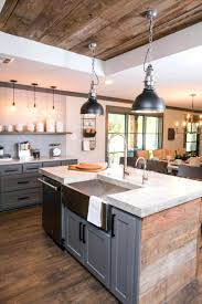 farmhouse kitchen industrial pendant. Gray Painted Recessed Panel Oak Traditional Farmhouse Kitchen Cabinets Black Industrial Pendant Light Carrara Marble Pencil Countertop Mahogany Wood E