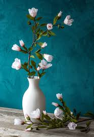 Paper Flower Branches Diy Crepe Paper Magnolia Branch Video Tutorial