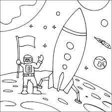 Small Picture rockets ship and astronaut landing on the moon coloring page