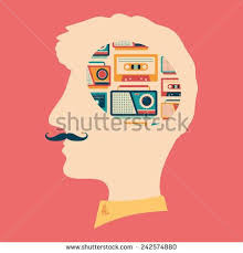 <b>Hipster</b> head with thoughts about <b>tape recorders</b> and cassettes ...