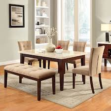 tribecca home colyton almond brown suede microfiber faux marble top 6 piece dining set