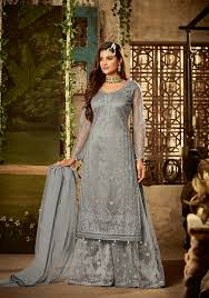 Wedding Dress Designs For Ladies Grey Net Embroidered Palazzo Suits Indian Dress Patterns For Ladies