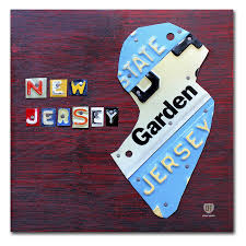 trademark fine art new jersey license plate map canvas wall art ali1298 c1414gg on license plate map wall art with trademark fine art new jersey license plate map canvas wall art