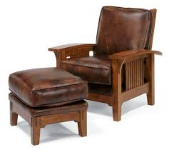 wood and leather chair. Brown Wooden Chair Using Leather Seat And Back Square Footstool As Well Club Ottoman Also Best Wood U