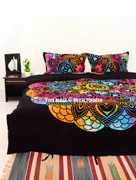 black tie dye oregano mandala duvet covers with set of 2 pillow covers