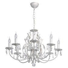 Classic 8 Arm Candle Shaped Pendant Chandelier In White