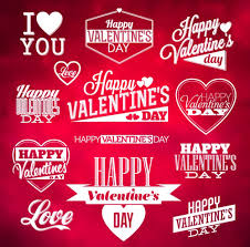 valentine day wordart logos with labels vector