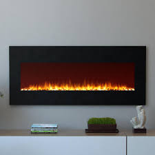 wall mounted electric fireplace in black