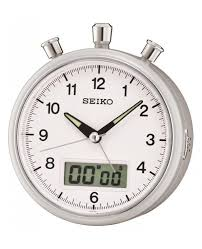 qhe114s new seiko battery powered alarm clock with stopwatch countdown timer