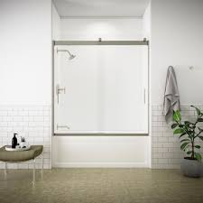 semi frameless sliding tub door in nickel