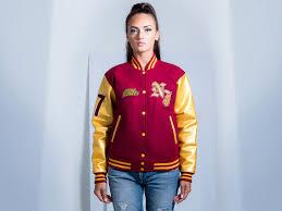 faux leather sleeves custom varsity jacket for women