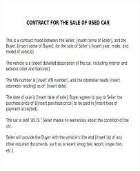 Used Vehicle Sales Agreement Template Creative Print Sample Auto ...