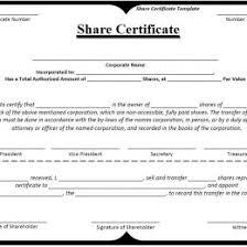 Shareholder Certificate Template Stock Certificate Template Microsoft Word Share Certificate