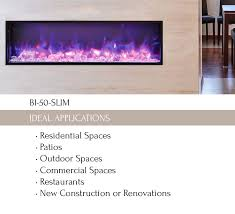 bi 50 slim electric fireplace indoor outdoor amantii electric fireplaces