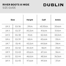 Calf Size Boots Chart Dublin River Boots Iii Wide Calf