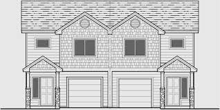 house front drawing elevation view for d 599 duplex house plans 2 story duplex