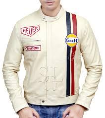 le mans off white leather jacket