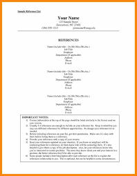 Resume Reference Page Template For Resume References Sample List