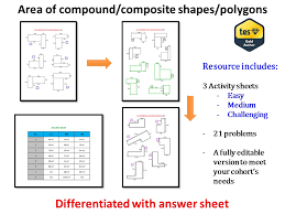 Area of compound/composite shapes/polygons (differentiated, with ...