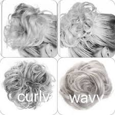 Details About Koko Hair Scrunchie Wrap Silver Grey Large Messy Bun Updo Wavy Curly Hairpiece