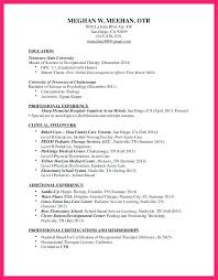 Sample Resume For Occupational Therapist Occupational Therapy Resume