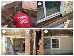repair water damaged exterior door frame. decks have lots of water damage and wood rot requiring extensive repairs to the deck, repair damaged exterior door frame